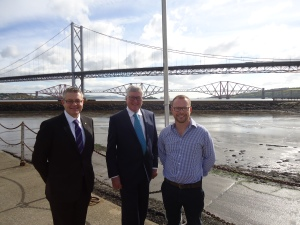 Stuart McMillan MSP with Minister for Tourism, Fergus Ewing MSP and Russell Aitken, Manager, Marina Office, Port Edgar Marina at the marina.